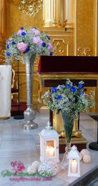 Cristal, paniculata y rosas azules de boda en Murcia